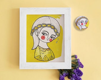 Yellow gray nursery, daisy card, girl postcard and brooch, nursery art, yellow nursery decor, yellow postcards set, tiny illustration print