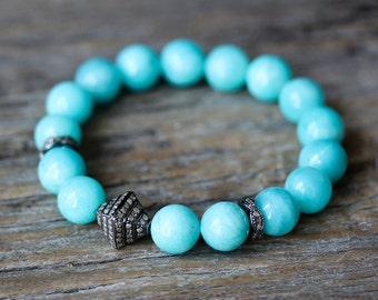 Blue Peruvian Opal Boho Pave Diamond Fragrant Sandalwood Stacking Bracelet Hill Tribe Tassel Jewerly