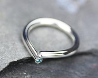 Diamond Ring, 14K Gold Raindrop Ring / Stacking Diamond Ring, Blue Diamond Ring, 14K Gold Ring, Sterling Silver Ring, Modern Minimalist Ring