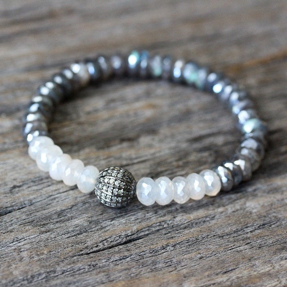 Items similar to Diamond Labradorite Moonstone Bracelet ...