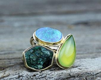 Emerald Slice Ring in 18K Gold