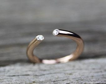 Diamond Stacking Ring, Geometric Diamond Ring, Modern Diamond Ring, Bohochic Ring, Boho Jewelry,  April Birthstone, Gift for Her, Love Ring
