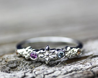Boho Flower Sapphire Ring, Stacking Ring, Bohochic Jewelry, September Birthstone, Sterling Ring, Wedding Band, Floral Ring, Bohemian Ring