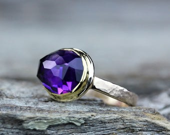 Moroccan Amethyst Solid Gold Ring, February Birthstone, Fine Jewelry Ring, Statement Ring, Bohochic Jewelry, 22K gold 14K gold Gemstone Ring