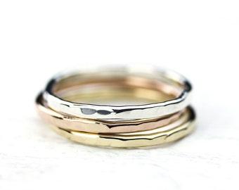 14K Gold Skinny Wedding Bands / Wedding Jewelry, Engagement Ring, Stacking Ring, Wedding Ring, Bridal, Unisex Ring, Boho RIng Tri Color Gold