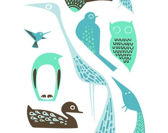 """8X10"""" modern birds giclee print on fine art paper. teal, turquoise, mint, blue and brown"""