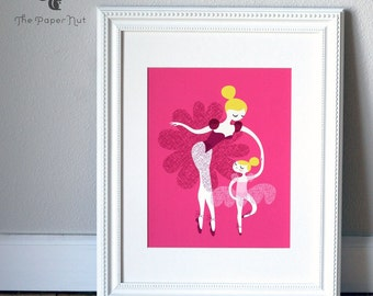 "8X10"" ballerina mother and daughter giclee print on fine art paper. fuchsia pink, plum purple, yellow blonde hair, caucasian."