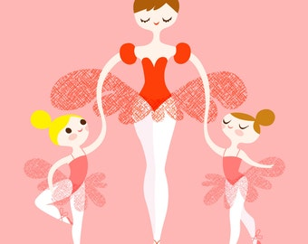 "11X14"" ballerina mommy and twins giclee print on fine art paper in coral, pink, blonde, brunette"