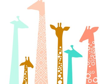 "11X14"" giraffe silhouettes giclée print on fine art paper. rust, coral, teal."