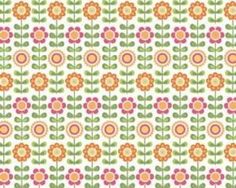 Riley Blake, Summer Song, Summer Flowers in White C7051- 1 Yard Clearance (Last One)