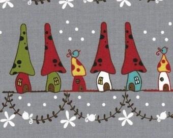 Japanese, Lecien, Natalie Lymer - Cinderberry Stitches, Woodland Neighbors in Grey 30404.90 - 1 Yard Sale
