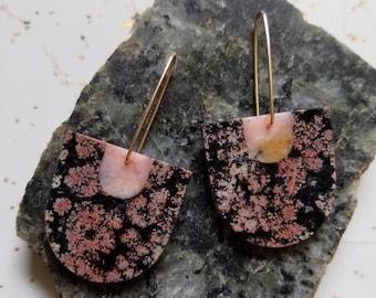 Stone Drop Earrings, Jasper, Opal, Turquoise, Lapis Earrings, Obsidian Statement Earrings   Color Study 2.0 Earrings