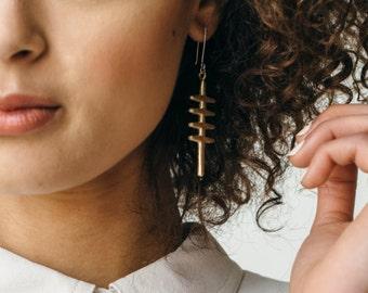 Miska Earrings - Cast Bronze Cross Pendants, Primitive Earrings