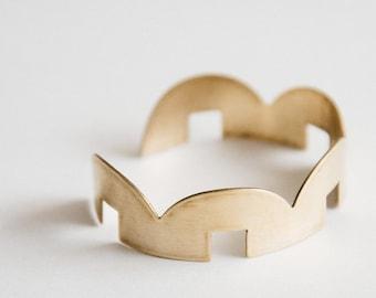 Geometric Gold Cuff Bracelet, Minimal Adjustable Bangle Bracelet, Simple Brass Cuff   Arco Iris Open Cuff