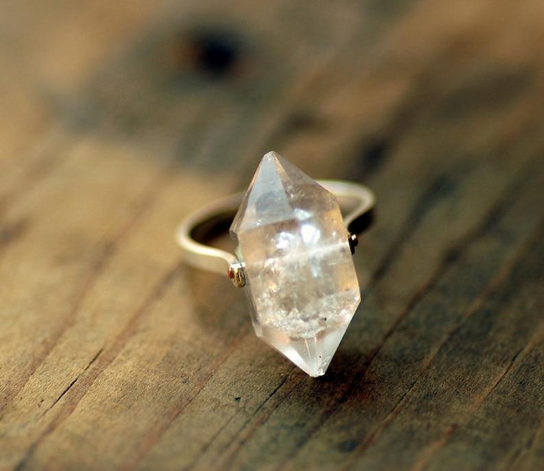 Herkimer Diamond Ring Crystal Quartz Silver Ring Herkimer Etsy
