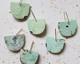 Half Moon Stone Slice Earrings, Small
