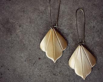 Gold Leaf Earrings, Boho Brass Earrings, Bohemian Earrings, Moroccan Drop Earrings   Luma Small Earrings