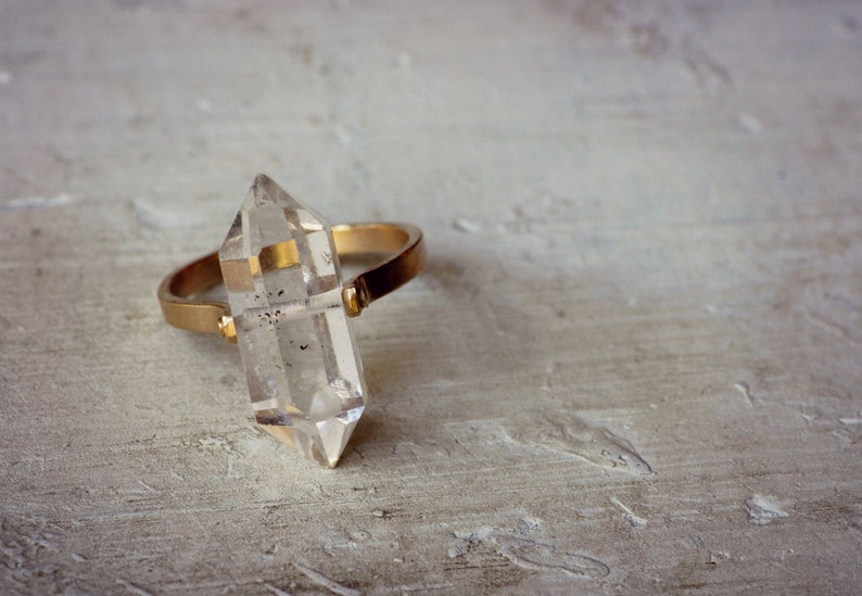 14k Gold Herkimer Diamond Ring Rose Gold Herkimer Ring image 0