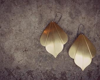 Bohemian Gold Earrings,  Boho Brass Earrings, Moroccan Drop Earrings, Large Leaf Earrings   Large Luma Earrings
