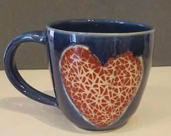 Heart Mug with Blue glaze