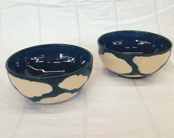 Set of 2 Medium sized Ramen Bowls in Cloud Pattern