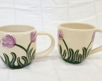 Set of two Purple Tulip Mugs