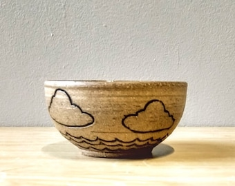 Cloud and Wave Bowl in Soft Matte White Glaze