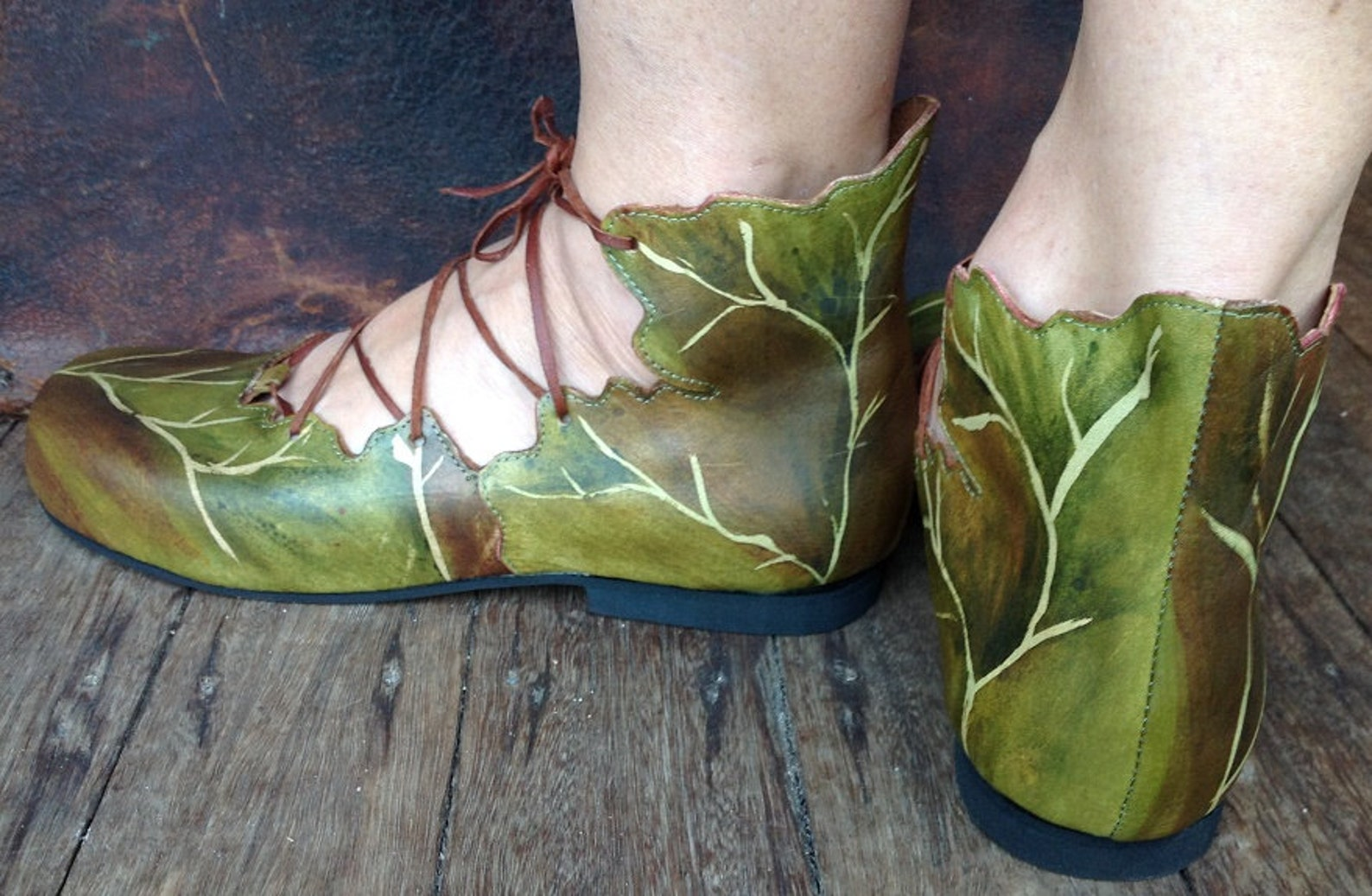 ballet pixie boots, handmade shoes, woodland shoes, elvish wedding, leaf boots,flat shoes, green shoes, ghillies, ankle boots,fa