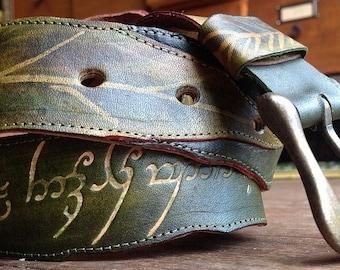 Elvish leaf belts, woodland belt, leather belt, green belt,leafy belt,handmade belt,womens belt,leaf design,leaf belt,elven belt, fairy belt