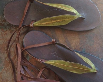 Gum leaf sandals,womens sandals,handmade leather sandals,fairy wedding shoes, woodland shoes,womens shoes,pixie shoes,faerie,lace up sandals