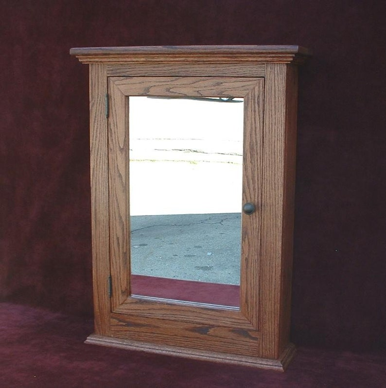 Medicine Cabinet Classic Solid Oak Hand Crafted Beveled Etsy