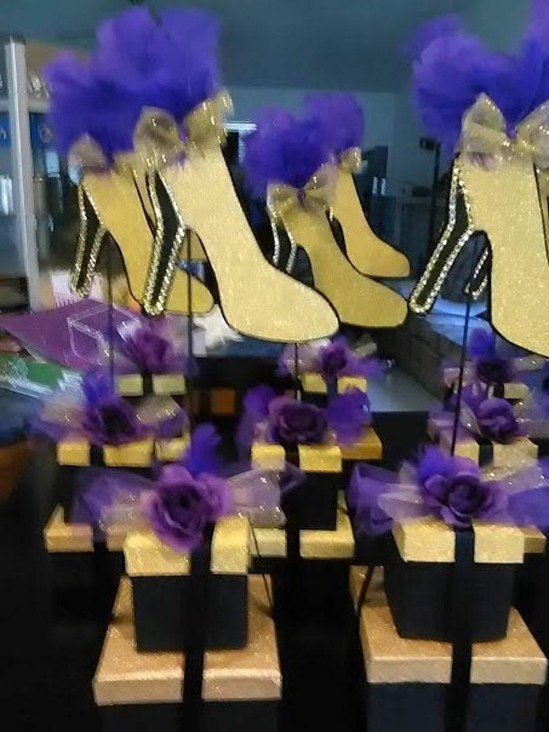 Ten Stiletto shoe centerpieces gift box base Shoe Party Table image 0