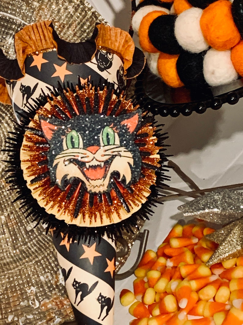 Vintage Style Halloween Black Cat Large Candy Cone with Black image 0