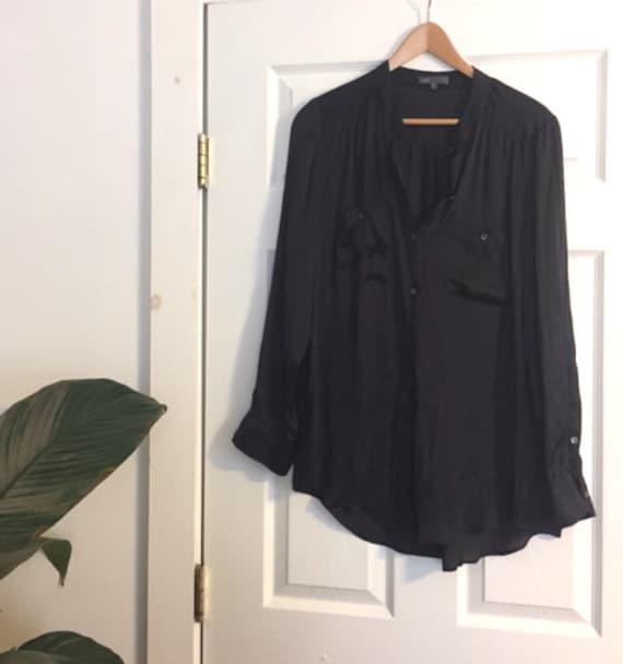 90s Minimalist Black Silky Button up