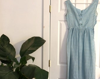 Vintage Sheer Blue and White 1950s Dress