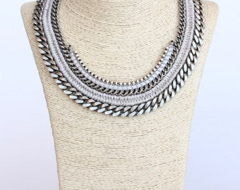 JAMARRAYA silver chain statement necklace