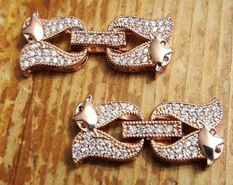 Rose Gold Fox Pave Fold Over Clasp with Crystals