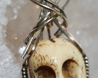Hand Crafted Carved Bone Skull Wrapped in .925 Sterling Silver Wire