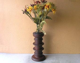 Tall bud vase, modern industrial flower vase, recycled salvaged steel, mens gift