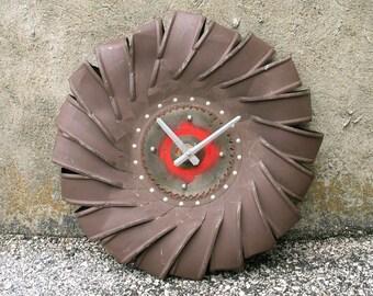 "Farmhouse wall clock, 20X20"" large clock, upcycled wind turbine, great room clock, contemporary design"