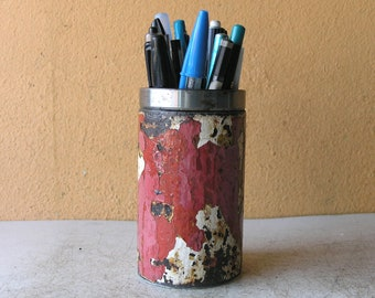 metal pen cup, pencil holder, indsutrial organizer, home office, upcycled pipe, pink red white, salvaged steel