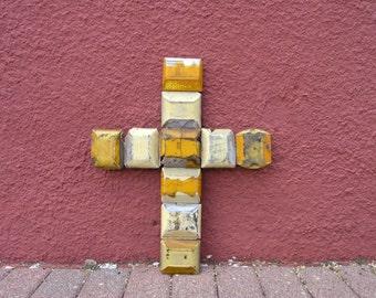 Unique wall cross, non religious cross, upcycled road reflectors, mixed media art, street art