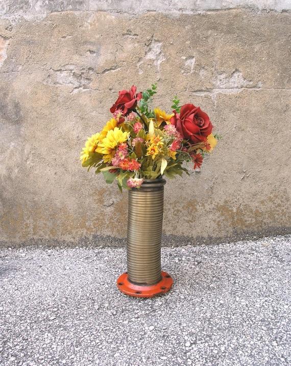 Industrial Vase Tall Flower Vase Metal Flower Holder Mens Gift Etsy