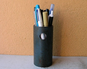 blue pen cup, metal pencil holder, upcycled pipe, home office desktop organizer