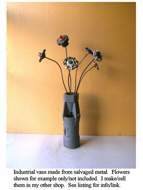 Blue Gray Vase Tall Table Vase Industrial Flower Vase Salvaged Etsy