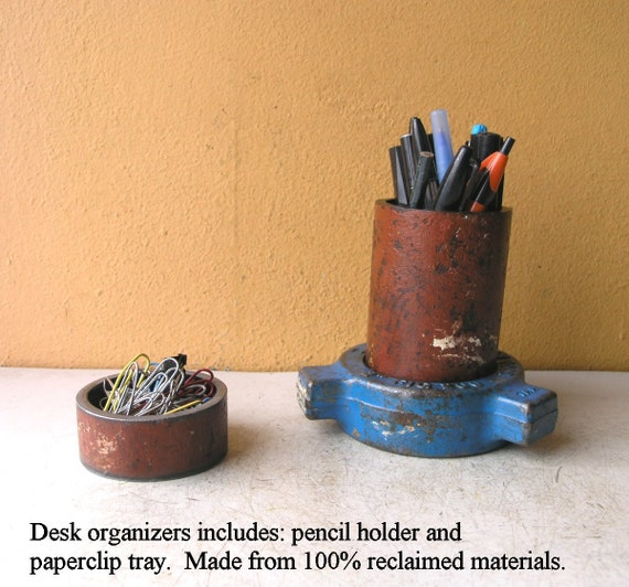 Amazing Metal Desk Set Industrial Pencil Holder Paperclip Cup Pen Stand Desk Accessories Unique Upcycled Office Organizers Blue Red Manly T Idea Home Interior And Landscaping Ferensignezvosmurscom