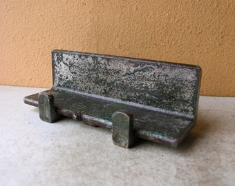 Metal tablet holder, desk organizer, industrial office, desk accessory, sea green, salvaged steel angle  iron stand