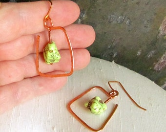 Hand Forged Copper ~ Funky Square Earrings with Wire Wrapped Lime Green Turquoise ~ Handmade Copper Earrwires