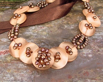 Vintage Button and Freshwater Pearl Necklace ~ Woven Bronze Pearls and Buttons on a Brown Ribbon ~ Tie-On Choker