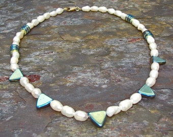 Baroque Pearl Necklace with Vitrail Glass Triangles ~ Modern Pearl Necklace ~ Modern Bridal Necklace - 18 inches